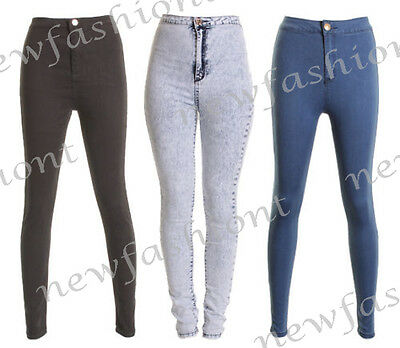 NEW LADIES WOMEN HIGH WAISTED ACID WASH SKINNY JEANS JEGGINGS PANTS 8 10 12 14