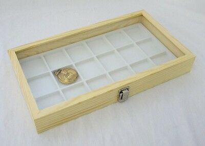 Natural Wood Pocket Watch/ Jewelry 18 Slot Glass Top Display White