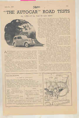 1939 Ford England 8hp Roadtest Magazine Article wt9660