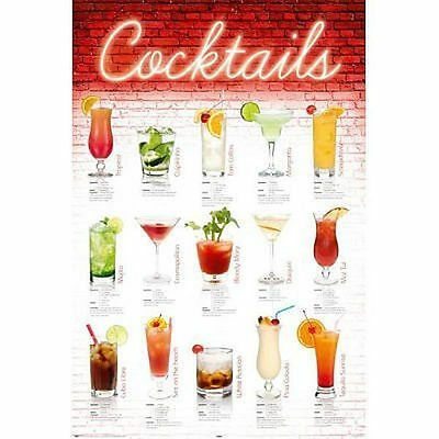 COCKTAILS RECIPIE CHART POSTER - 24x36 SHRINK WRAPPED - BAR ALCOHOL 20833