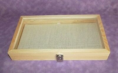 Natural Wood Glass Top Jewelry Display With Linen Pad