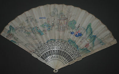 RARE ANTIQUE LARGE CHINESE CARVED STICKS FAN HAND PAINTED LEAF 18TH CENTURY