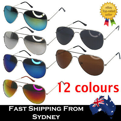 Men Women Aviator Sunglasses Reflective Lens Gold Silver Frame Free AU Shipping