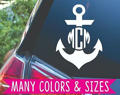 Personalized Anchor Monogram Initial Circle Decal Sticker