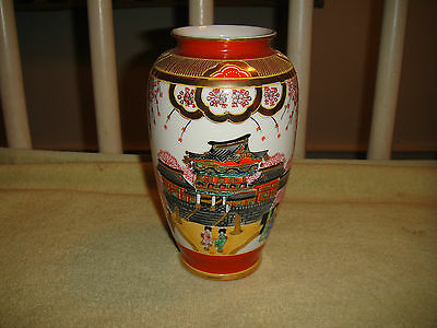 Superb Japanese Satsuma Moriage Vase W/Temple Design Pattern-Marked Bottom-Gold
