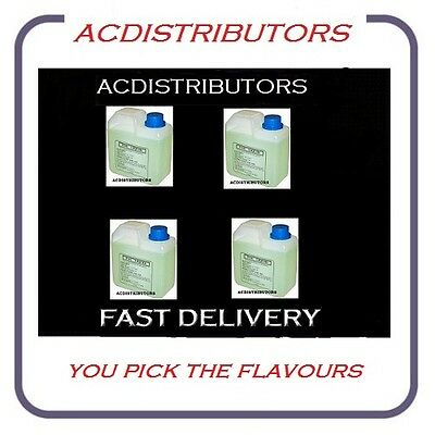 4 x 1 Ltr SMOKE/FOG Fluid..YOU Choose-Plain,Tutti Fruti,Redbull,Strawberry,Mint