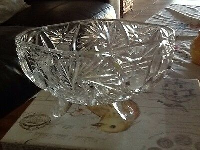 Vintage Glass Crystal Flower Bowl 18Cm Long 12Cm Wide Star Patten