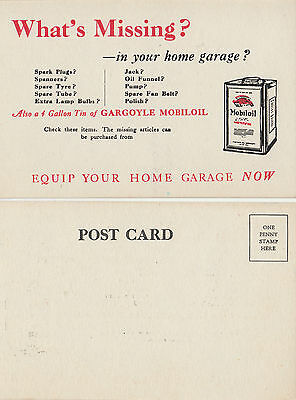 Stamp Australia 1920s period GARGOYLE MOBIL Oil advertising postcard, lovely
