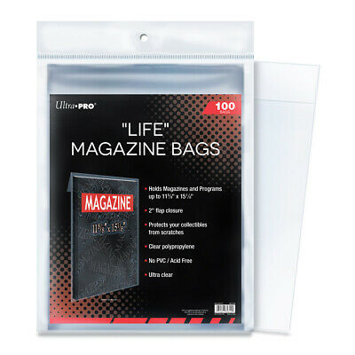 "(100) Ultra Pro Life Magazine Storage Bags Or Program Sleeves 11 1/8"" x 15 1/8"""