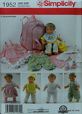 """Simplicity 1952 Baby DOLL CLOTHES PATTERN fits most 15"""" Bitty Boy Girl Twins"""