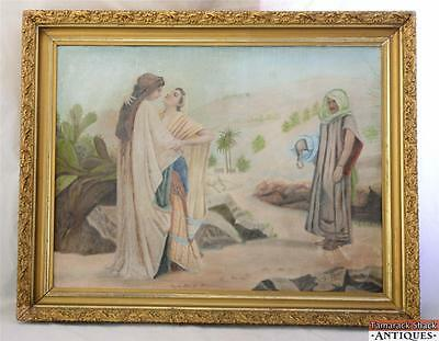 Allegory WOMAN JEALOUS LOVERS Signed RAMER Antique Gouache Painting Ruth Naomi