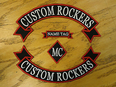 Custom Embroidery Rockers Ribbon, Name & MC Biker Set Embroidered Patch Outlaw