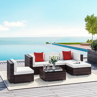 Outsunny 6pc Rattan Wicker Patio Sofa Set Sectional Garden Yard Couch Furniture