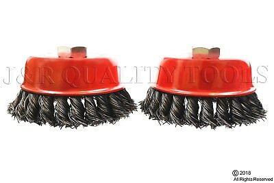 "2 Pack 4"" Cup Brush Knotted Twisted Wire Wheel 5/8 Arbor Grinder"