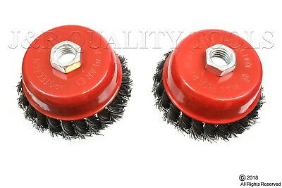 "2 Pack 4"" Cup Knotted Wire Wheel Angle Grinder Brush"