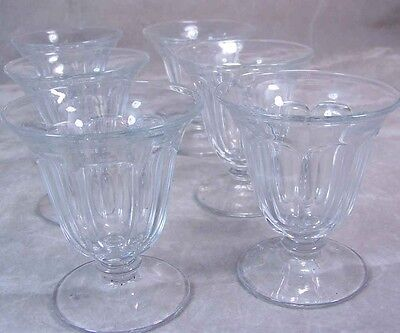 Antique Heisey Glass FLAT PANEL #352 Oyster Cocktail 3.5 OZ Lot 6 Cyrstal Marked