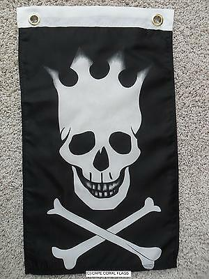 """12"""" X 18"""" Pirate Crown Jolly Roger Flag 12X18"""
