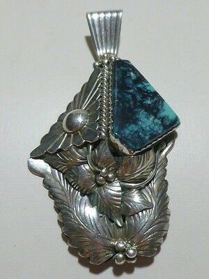 Vintage Navajo Native American Signed Sterling Silver Turquoise Necklace Pendant
