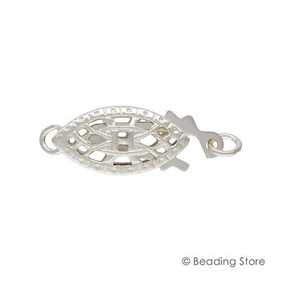 1 or 10 925 Sterling Silver 15mm x 6mm Filigree Fish Hook Clasp Pearl Clasps