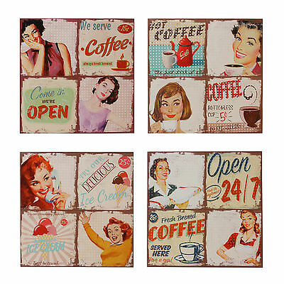 50's Diner Themed Canvas Wall Art  * Cafe * Coffee * Ice Cream * Open * PK56602