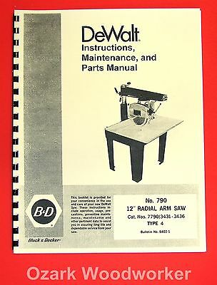 DEWALT 790 12-Inch Radial Arm Saw Owner's Instructions and Parts Manual 1025