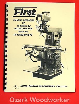 FIRST LC-18VS LC-18VHS Horizontal/Vertical Milling Machine Operators Manual 1027