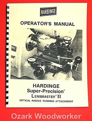 HARDINGE Lensmaster II Optical Radius Turning Attachment Operator's Manual 1029