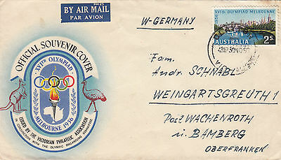 Stamp 1956 Australia 2/- Olympic souvenir cover sent airmail Germany paying rate