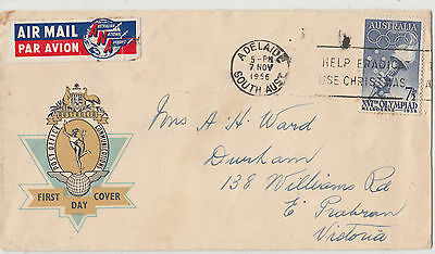 Stamp 1956 Australia 7&1/2d Olympic Games on Hermes FDC sent airmail paying rate