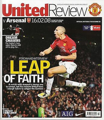 MANCHESTER UNITED v ARSENAL FA Cup 5th Round 2007/08 MINT