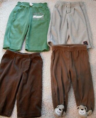 baby boys 4 pair PANTS bottoms GAP CARTERS bears BROWN GRAY GREEN 3-6 months