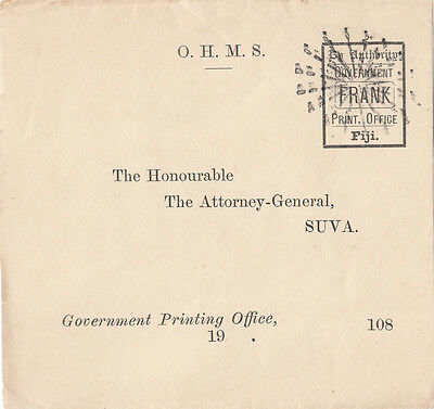 Stamp Fiji 1800's By Aurthority Government Print Office Frank Attorney General