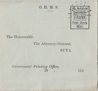 Fiji 1800's By Aurthority Government Print Office Frank Attorney General blue