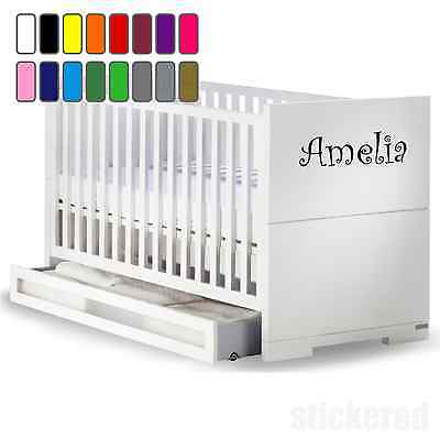 Personalised Name Vinyl Sticker Decal For Baby Cot / Crib Boys Girls Kids