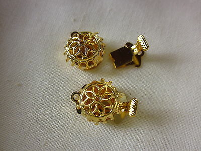2 Gold Plated 1-Strand Box Clasps 16x10mm #716