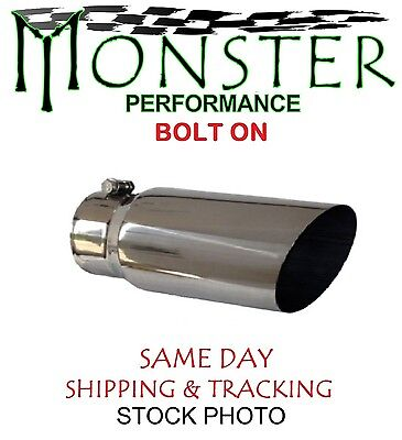 """8018ACB Angle Cut Stainless Bolt On Exhaust Tip 4"""" ID INLET 6"""" BODY 18"""" LONG"""