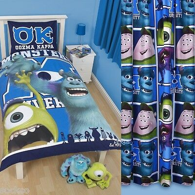 Monsters University Inc Single Panel Duvet and Matching Curtains Bedding Set