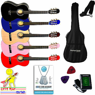Acoustic Guitar Package 3/4 Sized (36' inch) Nylon String Childs Guitar Outfit