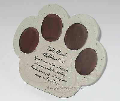 Sadly Missed My Special Cat Paw Memorial Remembrance Graveside Plaque Gift