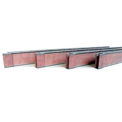 Pre-Cut 5' Modern Red Brick Weathered Lineside Wall Card Kit Oo Scale For Hornby