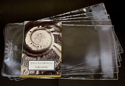 5X PROTECTIVE ADJUSTABLE PAPERBACK BOOKS COVERS clear plastic (SIZE 198MM)