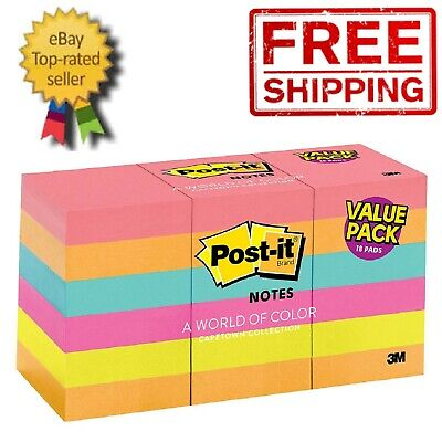 "1800-SHEET Post-it Notes 1.5""x2"" Pack Lot Sticky Pad Assorted Colors Yellow 3M"