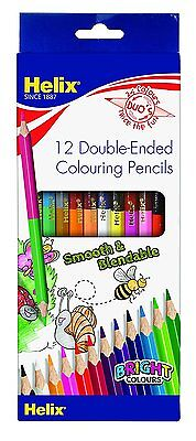 12 HELIX COLOURING PENCILS DUO'S -  Wallet of 12 - DOUBLE ENDED PENCILS