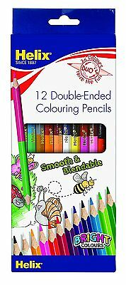 12 Helix DUO's Double Ended Colouring Pencils Wallet of 12 - Twin Tipped