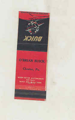 1940's O'Brian Buick Automobile Dealer Matchbook Cover Chester PA mb3136