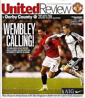 MANCHESTER UNITED v DERBY COUNTY League Cup Semi-Final 2nd Leg 2008/09 MINT