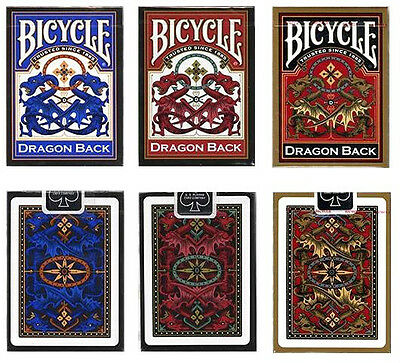 3 Decks Bicycle Dragon Back Standard Poker Playing Cards Red & Blue & Gold New