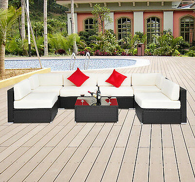Outsunny Outdoor Patio 7pc Rattan Wicker Sofa Sectional Couch Deck Furniture Set