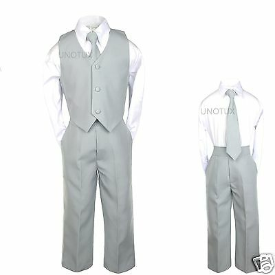 Baby Toddler kids Teen Boys Wedding Party Formal 4pc Vest Suits set Silver S-20