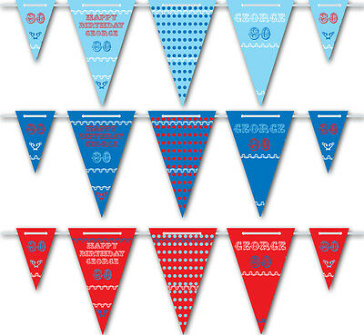 Personalised Vintage Style Birthday Bunting - 3m - 15 pendants, red and blue